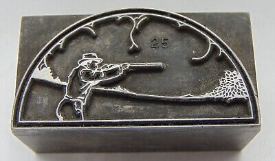Vintage Printing Letterpress Printers Block Man Shooting Gun All Metal