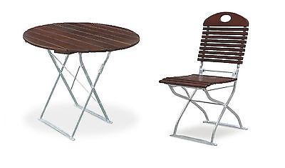 Biergartentisch rund Ø90 cm Edition-Exklusiv kastanie/verzinkt mit 2x Stühlen