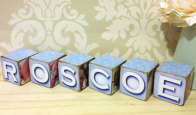 Wooden Photo Blocks (Hand Made Wooden Personalised Baby Child Photo Block Gift Christening)