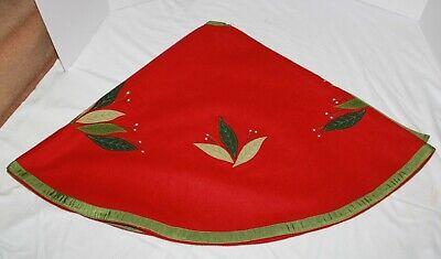 Vintage Red Wool Christmas Tree Skirt