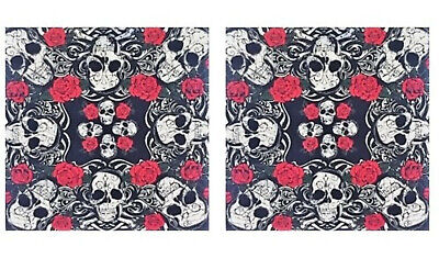 Pirate Accessories For Women (Roses and Skulls Bandana Set, Accessories for Men, Women, Dogs, Pirates, Bikers)