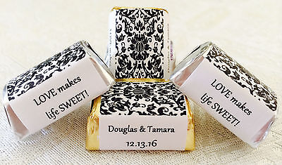 210 DAMASK PATTERN Personalized Candy labels/wrappers/stickers for - Damask Wedding Candy