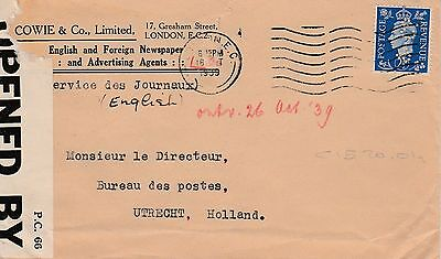 1939 censored cover 2 1/2d stamp partial perfin C&Co C1520,01a identity Cowie&Co