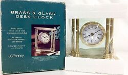 JC Penney Mantel Desk Clock SOLID BRASS & Glass - Roman Numeral - Vtg! NIB!