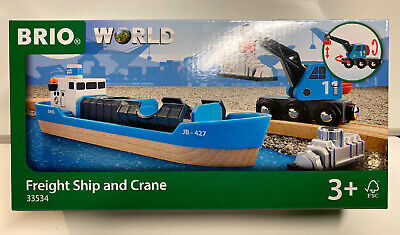 Brio World Wooden Railway Freight Ship & Crane #33534 Brio Wooden Railway