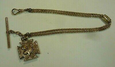 Vintage Victorian GF? Pocket Watch Chain Slide Maltese Cross Moose Fob T-Bar