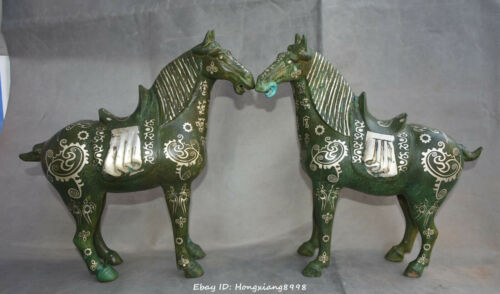 "11"" China Bronze silver fengshui 12Zodiac Horse Jun Horse Animal pair"
