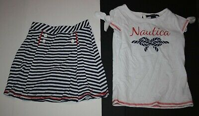 New Nautica 4T Girls 2 Piece Outfit Glitter Rope Bow Top & Striped Skort Set