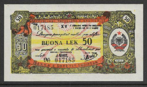Albania 1953 50 Leke Foreign Exchange Note  P-FX7 AU