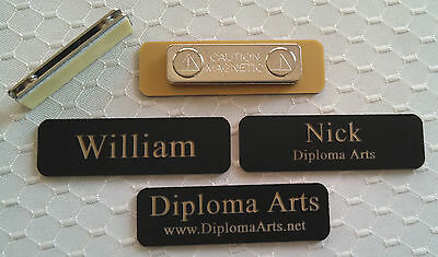 Custom Name Tags 2.5x0.75 Black -gold Letters Corners Rounded W Magnet