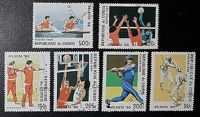CONGO Sc.# 1102-07 Atlanta '96 Olympics Used Stamps Set of 6 (No816)