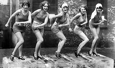 Vintage Ladies Dancing Charleston on Ice Photo 1920s Flappers Jazz Prohibition