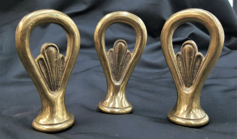 Set of 3 Solid Brass Art Deco Finials
