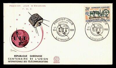 DR WHO 1965 GABON FDC ITU CENTENARY SPACE CACHET  g18736