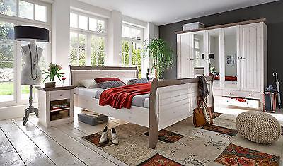 STEENS Massivholz Schlafzimmer MONACO Landhausstil White Wash Stone 4 tlg.