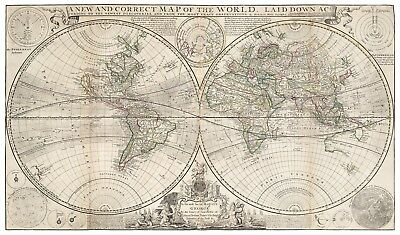 Antique New Correct Map of the World decorative map Moll 39,3 x 23,6 inch canvas