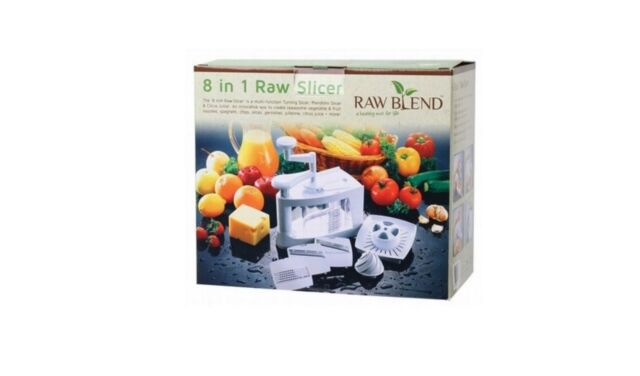 RAW BLEND 8 In 1 Raw Slicer WHITE ( Vege Fruits Spaghetti Noodles Slices Chips)