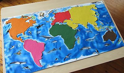 My movable continents on a beautiful map of the word with animals fabric. Available on request.