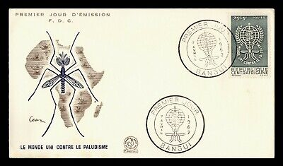 DR WHO 1962 CENTRAL AFRICAN REPUBLIC FDC ANTI MALARIA CACHET  g18387