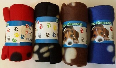 Pet Blankets for Small Medium Dogs Cats w/ Paw Print~Red Blue Black Brown 4-Pack