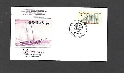 1977 SAILING SHIP ISSUE FDC OTTAWA,CANADA  FLEETWOOD CACHET-SCHOONER