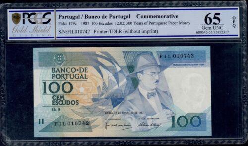 PORTUGAL  100 ESCUDOS 1987  FIL COMMEMORATIVE  PICK # 179c PCGS 65 GEM UNC OPQ.