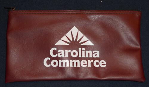 Vintage Carolina Commerce Deposit Bag Bank Pouch Zippered Safe Money Organizer