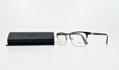 Prada Men's Rectangular Shiny Brown/Silver Glasses and Case VPR 54T USF-1O1 (Prada Men Glasses)