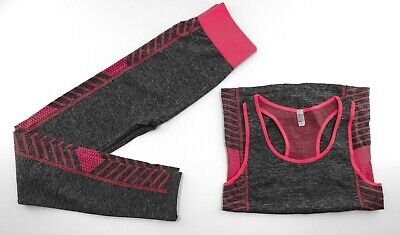 Sonderposten ++ Fitness Outfit ++ Legging Set ++ grau/pink ++ one size