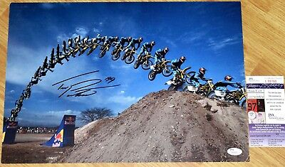 Travis Pastrana Signed 11 5X16 5  Flip Photo  1 Jsa  X Games  Motocross  Nascar
