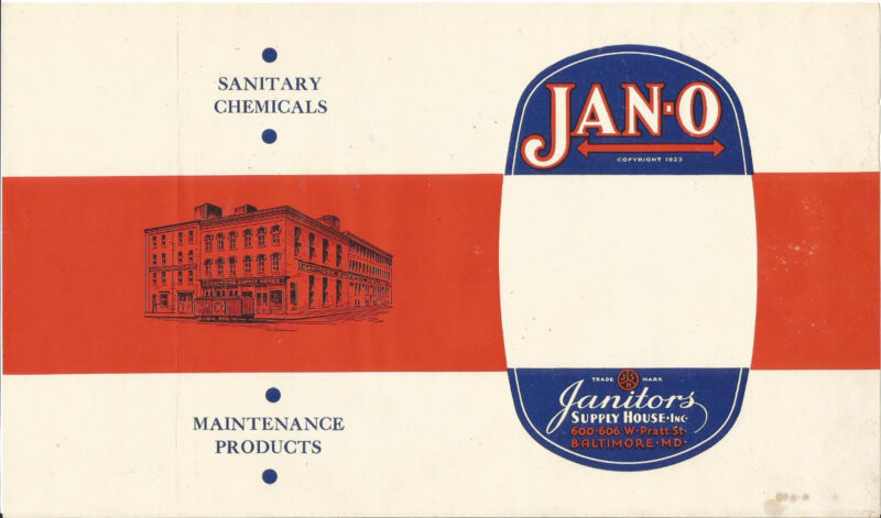 Label,JAN-O,Baltimore,MD.Free shipping.Vintage original advertising= melaneybuy