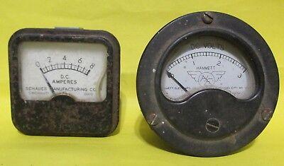 Vintage Amp Amperes Volts Meter Gauge Hammett Schauer Steampunk Lamp Art