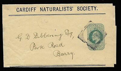 GB King Edward VII 1902 magazine wrapper Cardiff to Barry. Naturalists Society.
