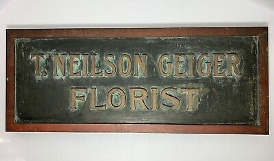 Antique FLORIST BRONZE ADVERTISING Store SIGN 30