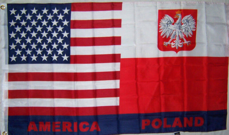 POLAND / U.S. USA POLAND COAT OF ARMS EAGLE FLAG NEW 3x5ft