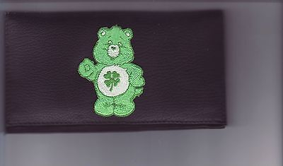 CARE BEAR LEATHER CHECKBOOK COVER GREEN SHAMROCK BEAR (Green Care Bear)
