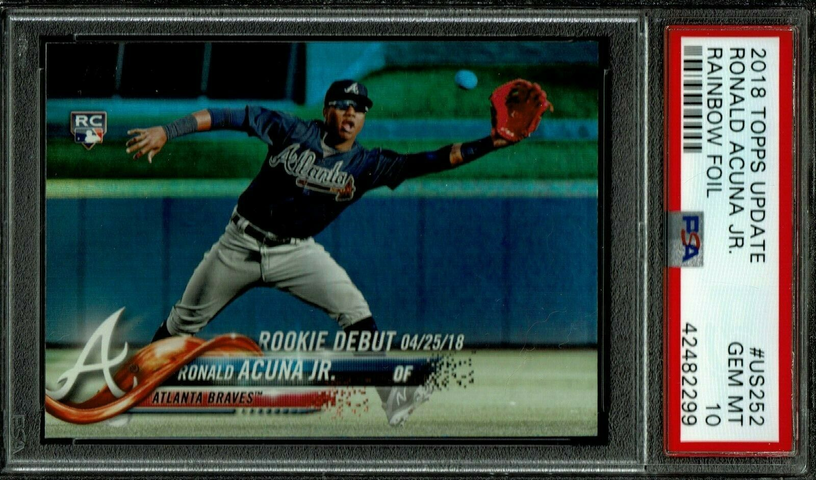 2018 Topps Update Ronald Acuna Jr Rookie RC US252 Rainbow Foil PSA 10 Gem Mt SP