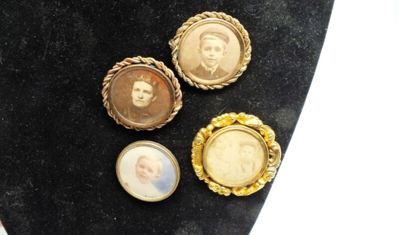 Set of Four Antique Sepia Mourning Pins