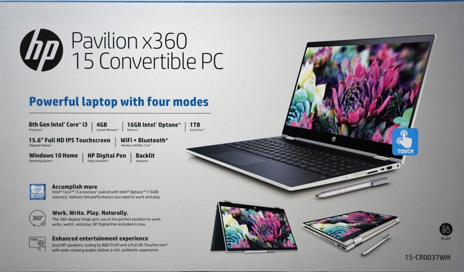"HP Pavilion X360 Convertible Laptop 15.6"" Touchscreen 1TB Op"