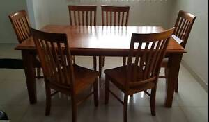 Hard Wood Dining Table and 6 Chairs, Used.