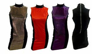 Womens Ladies Top Turtle Neck Glitter Party Dress Sleevless High Neck Short Top