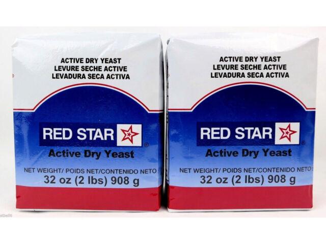 RED STAR ACTIVE DRY YEAST Vacuum Pack Bread 2 PACKS - TOTAL 4 LBS  EXP. 5 / 2022