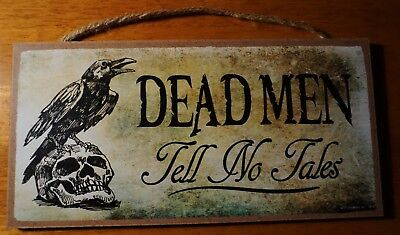 Pirate Skull Raven Sign Rustic Halloween Home Decor Wood DEAD MEN TELL NO TALES  - Rustic Halloween Decorations