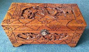 Camphor Chest - Wooden Carved Chest Manifold Heights Geelong City Preview