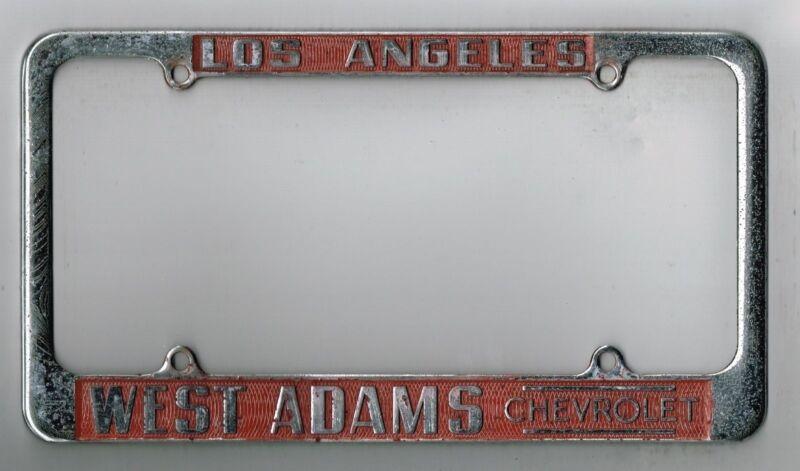 Los Angeles California West Adams Chevrolet Vintage Dealer License Plate Frame