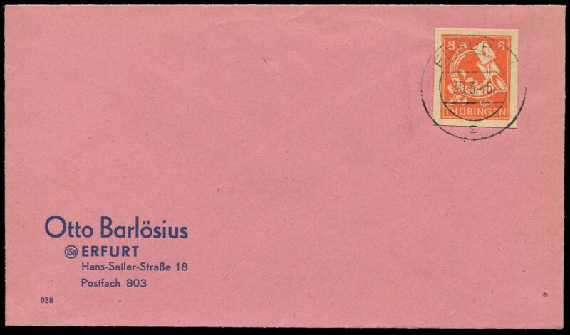 Germany Soviet Zone SPZ Thuringia Thueringen Imperforate Posthorn Stamp Cover