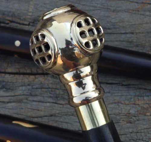 Vintage+solid+brass+handle+antique+Diving+helmet+cane+black+wooden+walking+stick