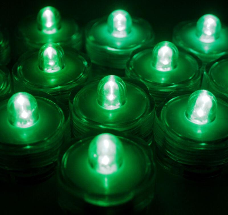 10 Pack Green Submersible Waterproof Underwater Battery LED Tea Light~Wedding