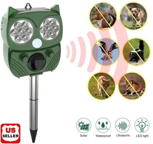 Solar Power Ultrasonic Animal Repeller Pest Repellent Cat Deer Raccoon Garden US Home & Garden
