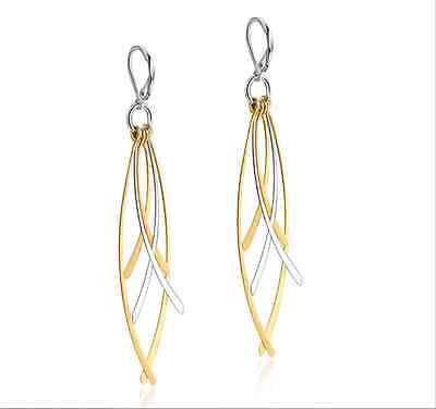 Titanium Steel Silver And Gold Tassel Design lovely Womens Hoop Drop earrings